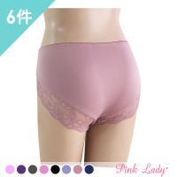 Pink Lady 漫遊花園花漾蕾絲棉柔中高腰內褲 6件組(3411)