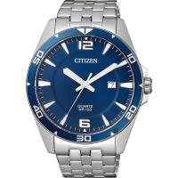 CITIZEN 星辰 百搭時尚石英錶-藍x銀/42mm BI5058-52L