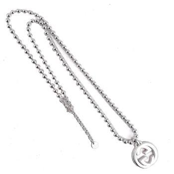 GUCCI Interlocking G 925純銀雙G墜飾珠珠項鍊(長版)
