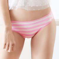 【EASY SHOP】俏挺條紋 低腰三角褲(象牙粉)