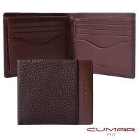 【CUMAR】義大利牛皮-上下翻短夾-荔枝紋配皮設計-附證件窗