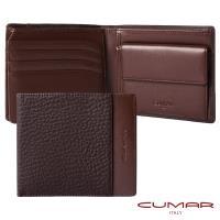 【CUMAR】義大利牛皮-零錢袋短夾-荔枝紋配皮設計-附證件窗