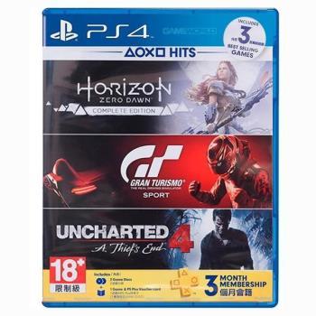 【PS4】地平線 期待黎明 完全版 + 跑車浪漫旅 競速+ 秘境探險4 (數位板)+ PSN 3個月會員籍 組合包 中文版