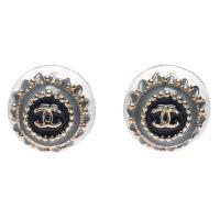 CHANEL 經典雙C LOGO原珠排列圓形穿式耳環(藍灰X金)