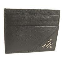 PRADA 黑色斜紋牛皮銀色浮雕Logo雙面六卡卡片夾