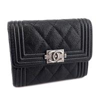 CHANEL BOY 新款-黑色荔枝牛皮銀釦雙層式拉鍊卡片夾