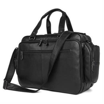 【米蘭精品】手提包真皮公事包-黑色牛皮16吋多隔層73ur50