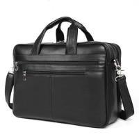 【米蘭精品】手提包真皮公事包-黑色牛皮17吋電腦包73ur1