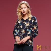 MONS法式名品浪漫印花造型上衣
