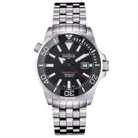 DAVOSA BG W9超級夜光排氦氣300米潛水專用錶-黑不鏽鋼錶/42mm