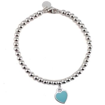 TIFFANY 藍色法瑯心牌墜飾925純銀圓珠手鍊