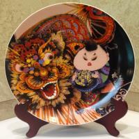 青花皇后楊莉莉-7吋瓷盤畫~龍女圖