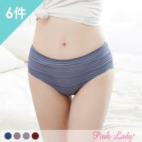 Pink Lady 條紋蠶絲褲底棉質無痕中低腰內褲 6件組 (853)