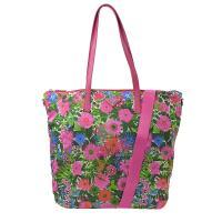 PRADA 1BG189 三角LOGO 花卉尼龍帆布兩用購物包.桃
