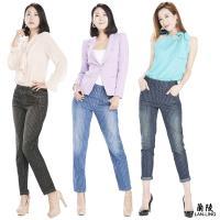 蘭陵纖感修身顯瘦直紋牛仔褲3入-F09-41