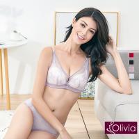 Olivia 無鋼圈美姬蕾絲薄紗內衣 小褲 紫色