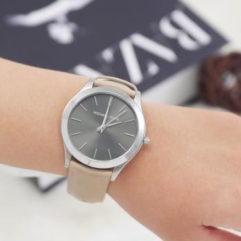 MICHAEL KORS MK8619大框不鏽鋼皮革腕錶.卡其
