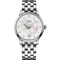 MIDO美度 BARONCELLI永恆系列晨夕鑲鑽機械女錶-銀/34mm M0392071110600