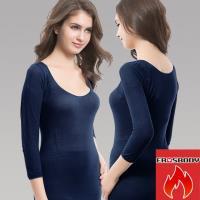 EROSBODY 女日本機能纖維針織衛生衣保暖發熱衣 藏青