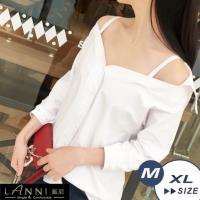 LANNI 藍尼-甜美清新感露肩襯衫 L-XL