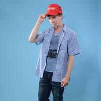 【JORDON】3M SCOTCHGARD 男款  吸濕快乾 格紋短袖襯衫