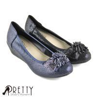 Pretty 奢華串珠飾蝴蝶結楔型娃娃鞋B-20226