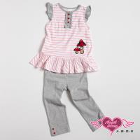 天使霓裳-童裝 小蘑菇條紋 兒童短袖長褲兩件組套裝(白) GSH13015