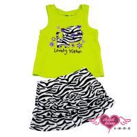 天使霓裳-童裝 斑馬紋小貓 兒童背心短裙兩件組套裝(芥綠) GSH13031