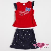 天使霓裳-童裝 花園女孩 兒童背心短裙兩件組套裝(紅) GSH13041