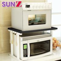 SUNZ-日系超高質感高耐重木紋雙層廚房置物收納架/微波爐架(加贈6入收納掛鉤)