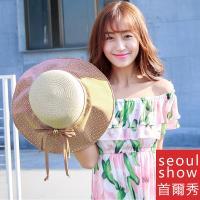 Seoul Show首爾秀 小花棉布軟絲帽簷防曬草帽遮陽帽