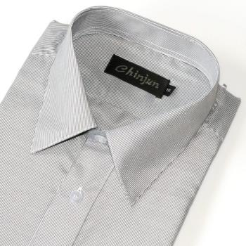 Chinjun防皺襯衫短袖,灰細條紋,編號B201