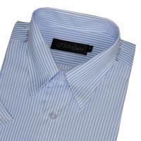 Chinjun防皺襯衫短袖,藍白相間條紋,編號B8055