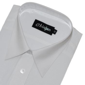Chinjun防皺襯衫短袖,白底白條紋,編號B8026