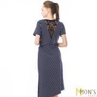 MONS歐系精品綁帶斜紋鏤空蕾絲洋裝