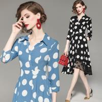 RN-girls-精品OL復古V領大圓點蕾絲拼接長袖洋裝