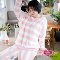 天使霓裳 清新微甜 法蘭絨二件式長袖成套休閒服(粉白F)