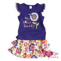 天使霓裳-童裝 可愛花朵 兒童背心短裙兩件組套裝(藍紫) GSH13049