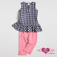天使霓裳-童裝 氣質格紋 兒童背心長褲兩件組套裝(黑灰) GSH13055