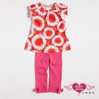 天使霓裳-童裝 夏日燦爛 兒童短袖長褲兩件組套裝(橘紅) GSH13059