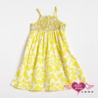 天使霓裳-童裝 南洋風情 兒童細肩帶連身小洋裝(黃) GSH13144