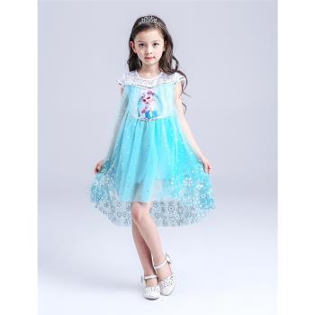 麗莎熊 LisaBear 冰雪奇緣ELSA夏季短袖前短後長三層網紗短裙小洋裝 公主風