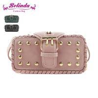 Belinda 側背包 哥維那個性鎖縫鉚釘多層迷你側背包(三色)