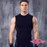 天使霓裳 運動背心 活力型男 彈性貼身運動上衣(黑M~XL) RQ27