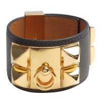HERMES collier de chien金屬鉚釘山羊皮寬版手環(S-墨灰X金)