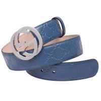 GUCCI 經典Guccissima GG壓紋金釦牛皮腰帶/皮帶(天藍)