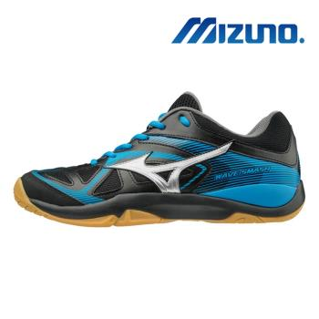 【MIZUNO 美津濃】WAVE SMASH 5 男女 黑藍 羽球鞋 71GA196003