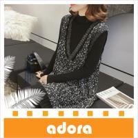 adora V領吊帶針織亮絲背心裙連衣裙+高領打底裙毛衣