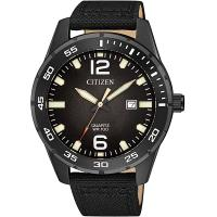 CITIZEN星辰 經典潛水造型百米防水石英錶(黑/42mm) BI1045-05E