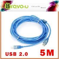 Bravo-u USB 2.0 傳真機印表機連接線/A公對B公-(透藍5米) 2入